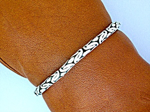 Sterling Silver Woven  Bracelet Hook Clasp (Image1)