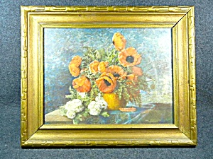 Framed Lithographic Print Max Streckenbach Poppies In