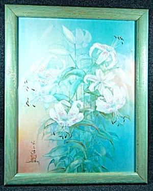 Print Lilies Framed John Cheng signed.   (Image1)