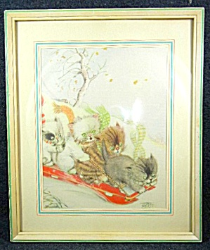 Winter Fun, 4 Kittens On A Sled Print, Framed