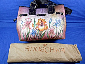 Anuschka Hand Painted Leather Drawstring Bag