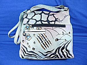 Anuschka Blue Hand Painted Leather Crossbody Bag