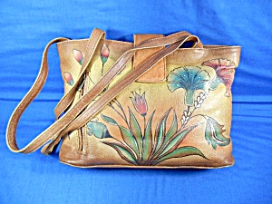 Anuschka Hand Painted Leather Medium Bag Turkish Garden