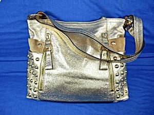Makowsky Gold Leather Bag Gold Studded (Image1)
