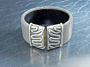 Artist Sterling Silver Grey Pebbled Leather Cuff (Image1)