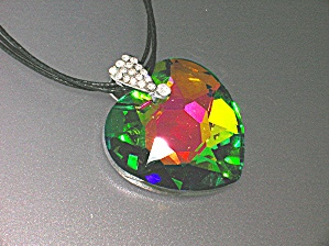 Borealis Crystal heart Pendant Cord Necklace New York (Image1)