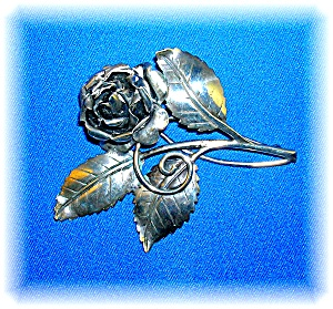 Sterling Silver Rose And Leaves Spray Brooch Pin (Image1)