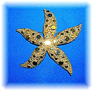 Gold CORO Star Fish Brooch Pin 3 1/4 Inches (Image1)