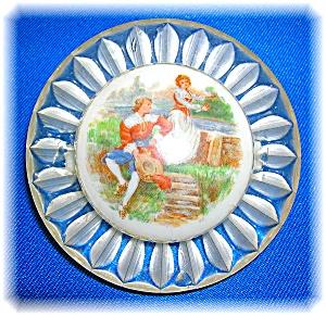 Vintage Clear Lucite Porcelain Man Lady Brooch (Image1)