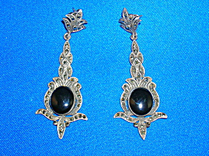 Vintage Sterlng Silver Black Onyx Marquisite Earrings (Image1)