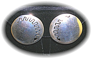 Taxco Mexico Sterling Silver Round Clip Earrings (Image1)