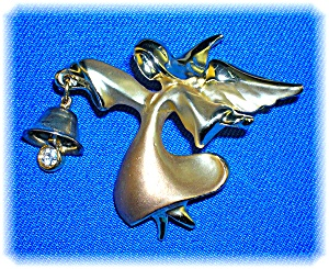 Gold Signed Angel Crystal  Bell Brooch Pin (Image1)