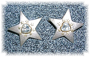 European 800 Silver Hearts Stars Post Earrings