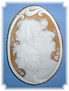 Brooch 14K Gold Shell 3 Faces Cameo  (Image1)