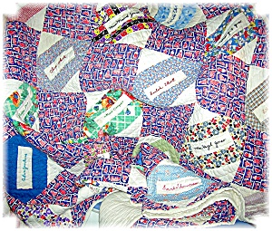1930s Hand Quilted 'Names' Quilt 59x70 (Image1)