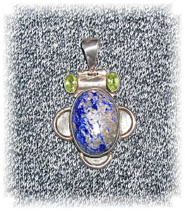 Sterling Silver Blue Lapis & Peridot Pendant (Image1)