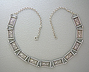 Antique Sterling Silver Birds and  Man 40s 50s Necklace (Image1)