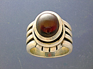 Sterling Silver 2 + Cts Dark Red Garnet. Designer Ring