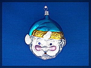 Santa face Christmas tree ornament with blue cap . . (Image1)