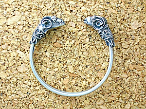 Antique Sterling Silver Rams head Bracelet (Image1)