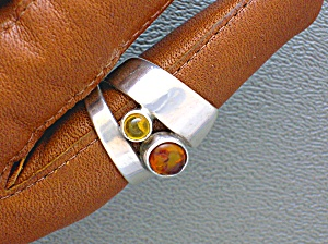 Amber and Sterling Free Size Silver Ring (Image1)
