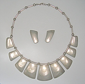Mexico Sterling Silver RIVERAS Necklace Earrings (Image1)