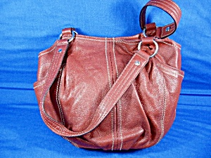 Tignanello Red Leather Bucket Bag