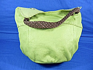 Sak Lime Green Fabric Bucket & Leather Bag