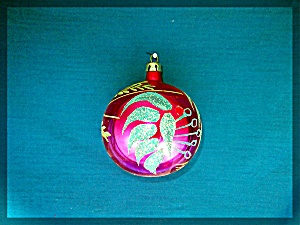 Hand painted blown glass Christmas ornament. (Image1)