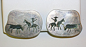 Mexican Sterling Silver Signed Clip Earrings (Image1)