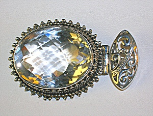2 Inch Sterling Silver and Faceted Crystal Pendant (Image1)