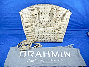 Brahmin Leather Croc Light Tan Bag With Dust Bag