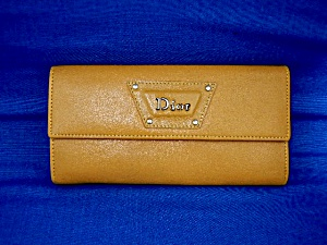 Christian Dior Gold Leather Bifold Checkbook Wallet