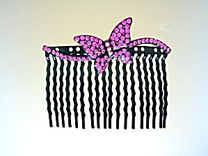 Crystal Pink Butterfly Hair Comb (Image1)