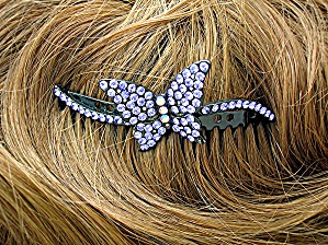 Sapphire Blue Crystals Hair Comb