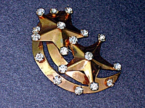 Sterling Silver gold Vermeil Crystal Stars Moon Brooch (Image1)