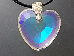 Opalescent Heart Pendant Cord Necklace