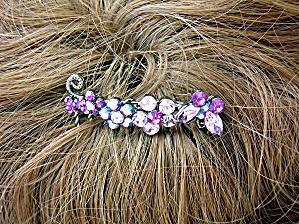 Pink Amethyst blue Crystal Flowers Hair Comb (Image1)