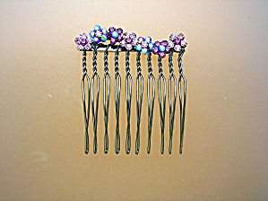 Amethyst And Pink Crystal Flowers Hair Comb