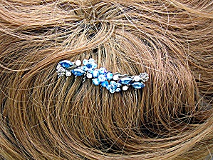 Sapphire Blue And Clear Crystal Flower Comb