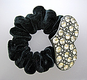 Crystal Heart And Black Velvet Scrunchie