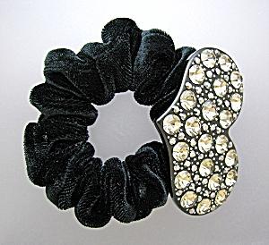 Crystal  Heart and Black Velvet Scrunchie (Image1)