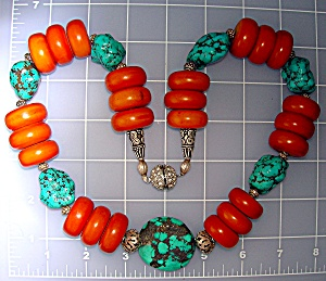 AmberTurquoise Sterling Silver Crystal Necklace  (Image1)
