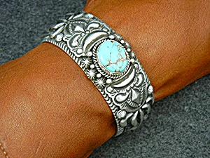 Navajo Sterling Silver Turquoise Cuff By D Becenti