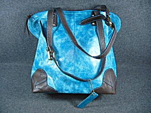 Nino Bossi Galaxy Teal Leather Bag