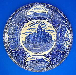 Flow Blue England Los Angles California Collector Plat