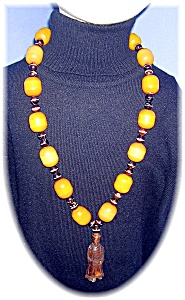 Necklace Amber  &Glass beads  Wood Netsuke  (Image1)