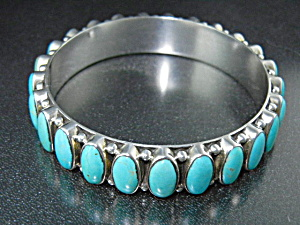 Dan Dodson Kingman Turquoise Sterling Silver Bangle