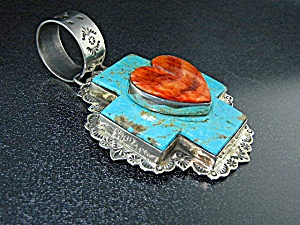 Dan Dodson Sterling Silver Turquoise Spiny Oyster Hear