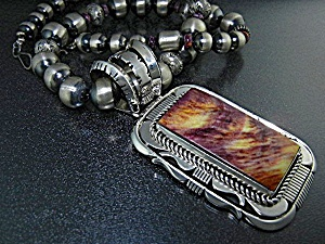 Navajo Sterling Silver Spiny Oyster Russell Sam Necklac
